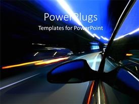 PowerPlugs: PowerPoint template with side view of a car moving fast on a road with lights