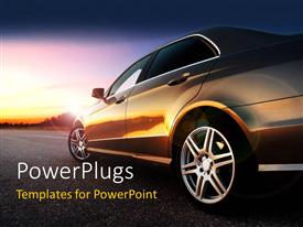 PowerPlugs: PowerPoint template with side view of a car on a plain road with light reflecting on it