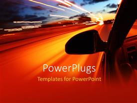 PowerPlugs: PowerPoint template with a side view of a fast moving car with bright street lights