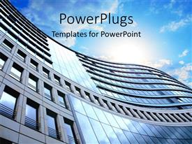 PowerPlugs: PowerPoint template with a side view of a high building and a clear sky