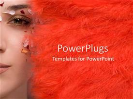 PowerPlugs: PowerPoint template with side view of a pretty lady with red feathers