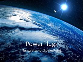 PowerPlugs: PowerPoint template with sight of earth from the space and planet shining with stars
