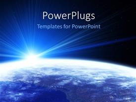 PowerPlugs: PowerPoint template with sight of the Earth from space with sun shining, stars