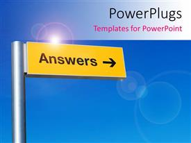 PowerPlugs: PowerPoint template with the sign of answers with bluish background