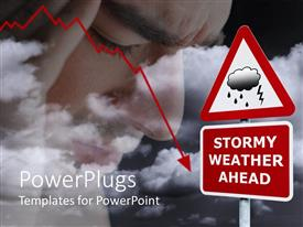 PowerPoint template displaying a sign of bad weather along with clouds in the background