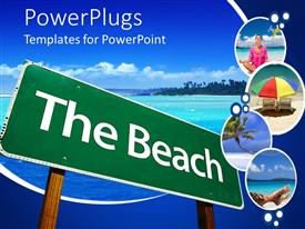 PowerPlugs: PowerPoint template with a sign of the beach and sea in the background