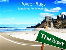 PowerPoint template displaying the sign of a beach with villas in the background