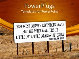 PowerPoint template displaying sign with Bible verse from Proverbs