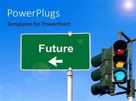 PowerPlugs: PowerPoint template with a sign with a bluish sky in the background