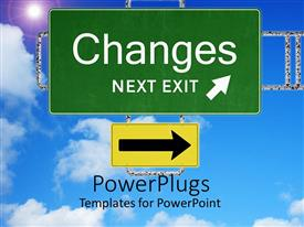 PowerPoint template displaying a sign of change with bluish background