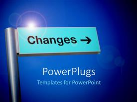 PowerPlugs: PowerPoint template with the sign of a change with bluish background