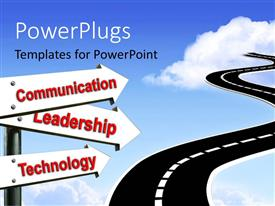 PowerPlugs: PowerPoint template with road sign leading to communication Leadership and technology over blue sky