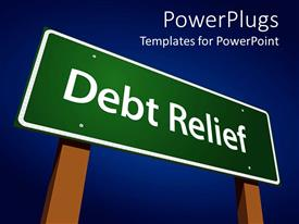 PowerPoint template displaying a sign of debt relief with clear sky