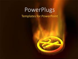 PowerPoint template displaying a sign in golden color with fire in the background