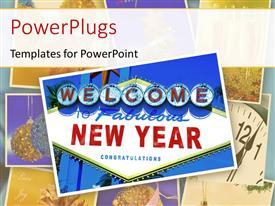 PowerPlugs: PowerPoint template with a sign of happy new year with a white background
