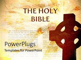 PowerPoint template displaying the sign of a holy cross with a bible