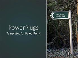 PowerPlugs: PowerPoint template with a sign of leadership with tree in the background