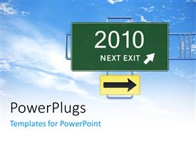 PowerPlugs: PowerPoint template with a sign of a new year with clouds in the background