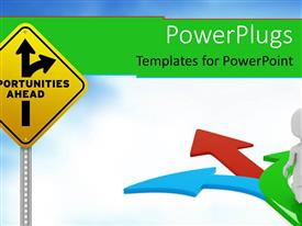 PowerPlugs: PowerPoint template with sign pole with opportunities ahead traffic arrows and blue red green arrows with 3D white figure going on the arrows