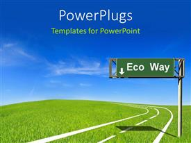 PowerPlugs: PowerPoint template with a sign post with a green sign board and a text that spell out the words 'Eco way'