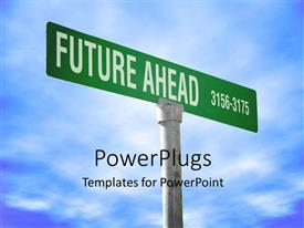 PowerPlugs: PowerPoint template with sign post reads FUTURE AHEAD over blue cloudy sky