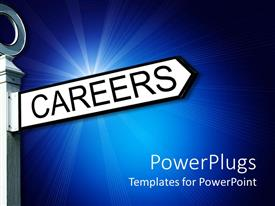PowerPlugs: PowerPoint template with a sign post with a sign board with a text that spells out the word 'Careers '