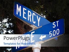 PowerPlugs: PowerPoint template with a sign post with two big blue sign boards