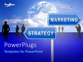 PowerPlugs: PowerPoint template with a sign post with two blue boards and text that spell out the words' strategy marketing'