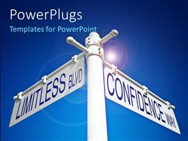 PowerPlugs: PowerPoint template with a sign post with two white sign boards with the text'Limitless , Confidence'