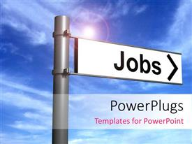 PowerPlugs: PowerPoint template with a sign post with a white sign board with a text that spells out the word 'Jobs'