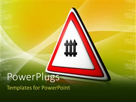 PowerPlugs: PowerPoint template with a sign of railway crossing with yellowish background