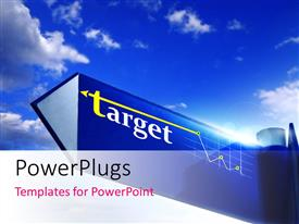 PowerPlugs: PowerPoint template with a sign of target with clouds in the background