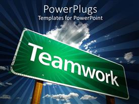 PowerPlugs: PowerPoint template with a sign of teamwork with clouds in the background