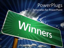 PowerPlugs: PowerPoint template with a sign of winners with clouds in the background