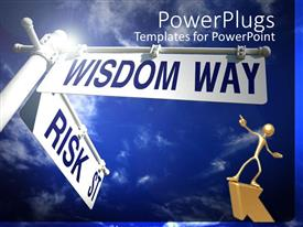A presentation with the sign of wisdom way and risk in different directions