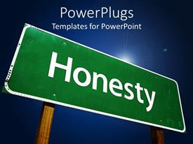 PowerPlugs: PowerPoint template with a sign written honesty in it with bluish background