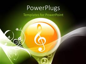 PowerPlugs: PowerPoint template with a sign in a yellow ball with greenish background