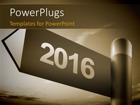PowerPlugs: PowerPoint template with signpost with direction for 2016 in dutone effect