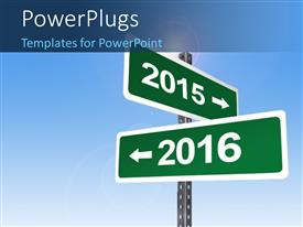 PowerPlugs: PowerPoint template with signpost with directions for 2015 and 2016 and blue sky in the background