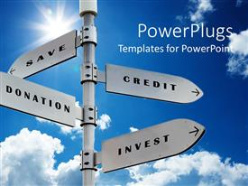 PowerPoint template displaying signpost with financial related words on signs with arrows, save credit donation invest over blue sky background