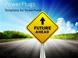 PowerPlugs: PowerPoint template with signpost with future ahead keyword on a road with sky in background