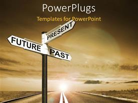 PowerPlugs: PowerPoint template with signpost with Future, Past & Present directions against the sky
