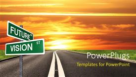 PowerPoint template displaying signpost with future and vision keywords and road to future in the background
