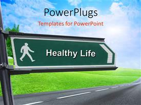 PowerPlugs: PowerPoint template with signpost with keyword healthy life and nature in background
