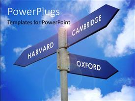PowerPlugs: PowerPoint template with signpost showing direction to three world famous universities with cloudy sky
