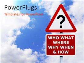 PowerPlugs: PowerPoint template with signpost with the six most commonly asked questions against a blue cloudy sky