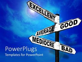 PowerPlugs: PowerPoint template with signpost with words excellent average good mediocre bad over blue sky background