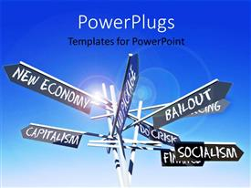 PowerPoint template displaying signpost with world economy related terms over blue sky