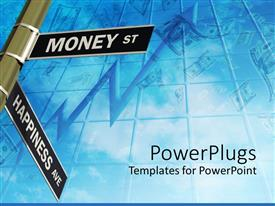 PowerPoint template displaying signs related to money and happiness in opposite directions