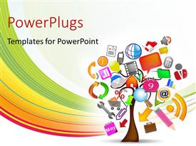 PowerPlugs: PowerPoint template with the signs of various apps and white background